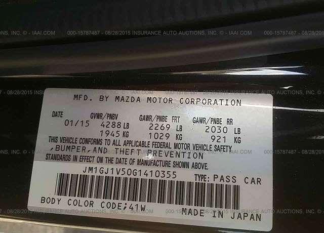2016 Mazda 6 Vin Jm1gj1v50g1410355rhautoinspectus: Mazda 6 Vin Location At Gmaili.net