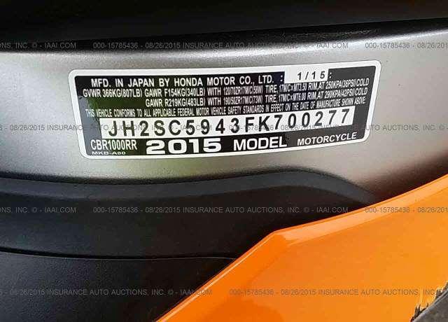 2015 Honda Cbr1000rr Vin Jh2sc5943fk700277