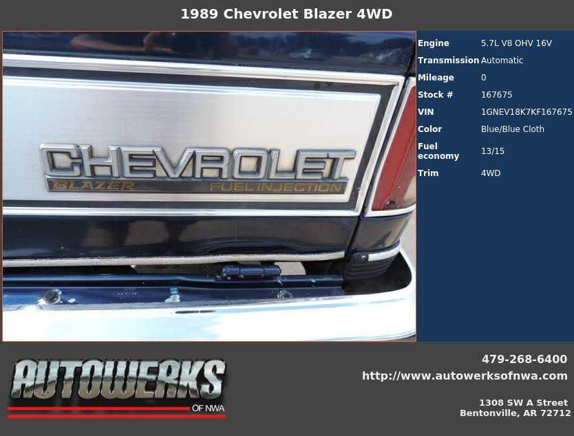 1989 Chevrolet Blazer For Sale In Bentonville Ar 1gnev18k7kf167675
