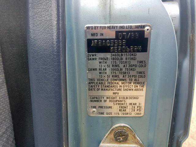 1989 SUBARU GL 4WD for sale in VALLEJO, CA | JF2AC53B2KE206224